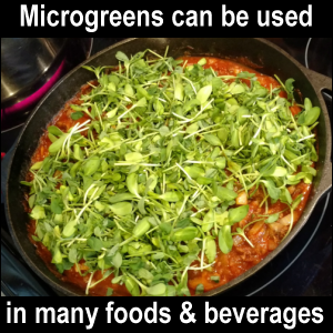 Microgreens can be used in many foods and beverages